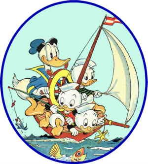 Huey, Dewey and Louie, with Unca Donald. Artist: Carl Barks.