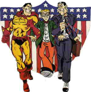 L-r: Captain Everything, Norm, The Ultra Conservative. Artist: Jim Valentino.