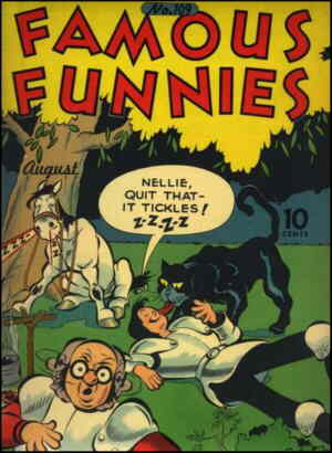 Oaky, Cedric and Nellie on the cover of Famous Funnies.
