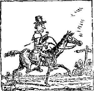 Mr. Oldbuck astride his horse. Artist: Rudolphe Töpffer.