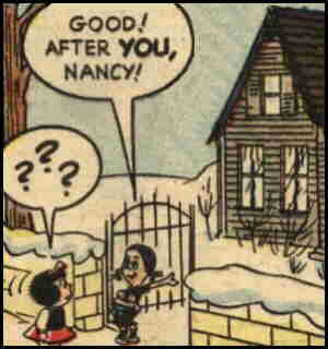 Oona introduces Nancy to her house. Artist: John Stanley.