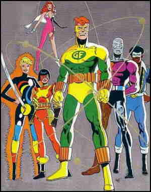 Standing, l-r: Halo, Katana, Geo-Force, Metamorpho, Black Lightning. Floating in mid-air: Looker. Artist: Jim Aparo.