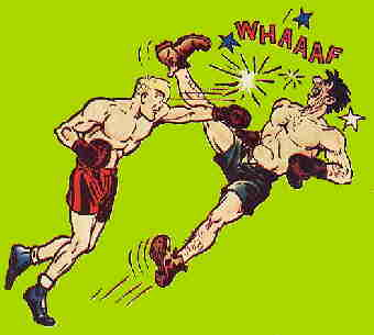 Joe socks it to an opponent in the ring. Artist of record: Ham Fisher.