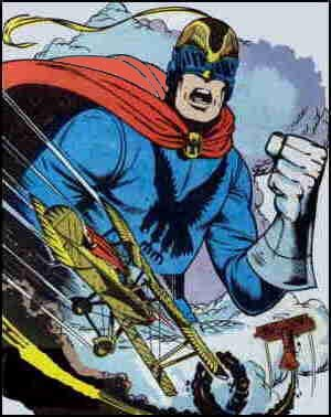 Phantom Eagle shown towering dramatically over landscape. Artist: Herb Trimpe.