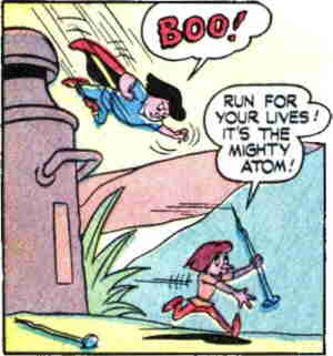 The Mighty Atom terrifies an opponent.