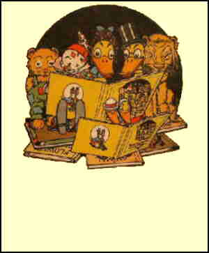 Quacky, Danny and some of their frolicsome friends, from the book cover, Artist: Johnny Gruelle.