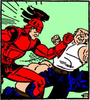 Red delivers a left to the jaw. Artist: Jack W.  McGuire.