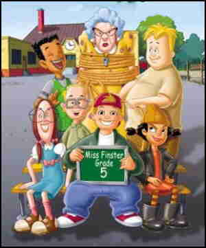 Tallest: Miss Finster. Standing, l-r: Vince, Mikey. Seated, l-r: Gretchen, Gus, T.J., Spinelli.