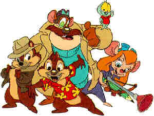 The Rescue Rangers: Chip 'n' Dale with Monterey Jack, Zipper and Gadget.
