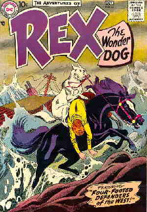 Rex demonstrates inter-species cooperation on a 1957 cover.
