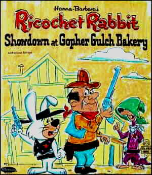 Ricochet Rabbit and villain in foreground, Droop-along Coyote in background.