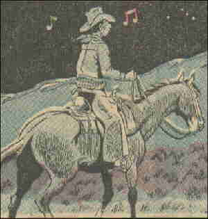 Night scene on the range. Artist: Stan Lynde.