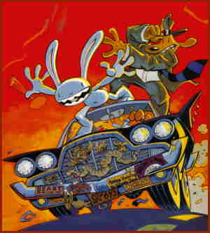 Sam and Max surf down the highway, from a cover. Artist: Steve Purcell.