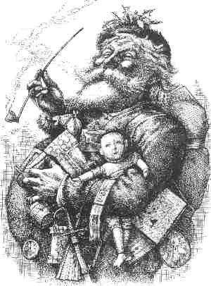 Santa Claus in his modern form. Artist: Thomas Nast.