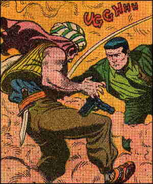 Sarge plants a fist (not the steel one) in a bad guy's gut. Artists: Bill Montes and Ernie Bache.