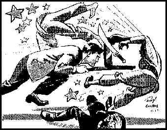 Buz mops the floor with his foes, from a 1948 daily strip. Artist: Roy Crane.