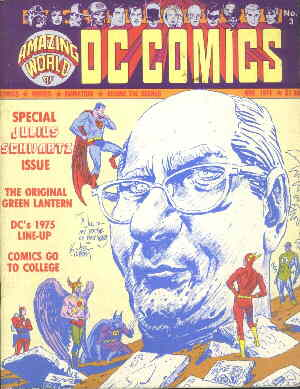 Julius Schwartz amid characters he's edited. Artist: Joe Kubert.