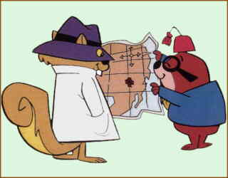 Secret Squirrel and Morocco Mole discuss plans.