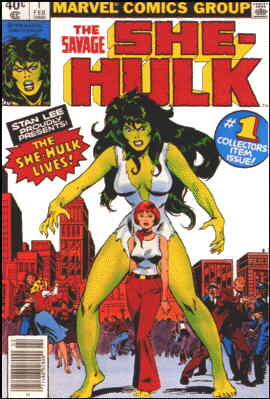 She-Hulk towers over her alter-ego. Artist: John Buscema.