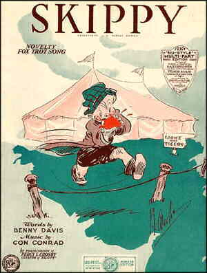 Cover of fox trot sheet music about Skippy. Artist: Percy L. Crosby.