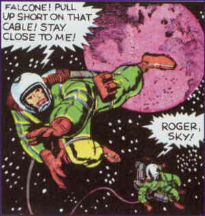 Sky and an associate doing what astronauts do best. Artist: Jack Kirby.