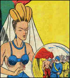 The Sorceress of Zoom consults one of her favorite sources of information. Artist: Don Rico.