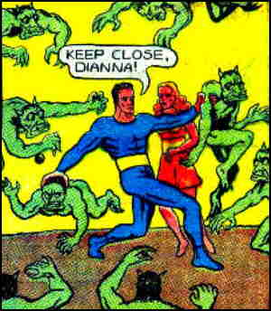 Space fights off the Trekurs of Planetoid Bloodu, while Dianna looks on nonchalantly. Artist: 'Hank Christy'.