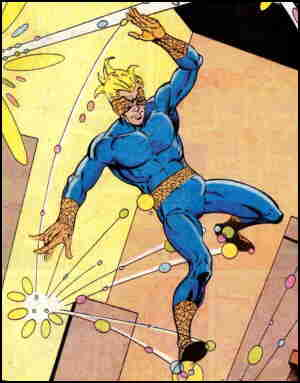 Speedball tests his powers. Artist: Steve Ditko.