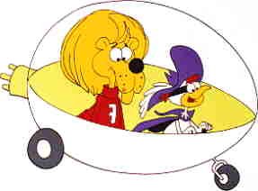 Super Chicken and Fred in the Super Coupe.