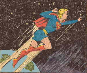 Supergirl cavorts through the cosmos. Artist: Jim Mooney.
