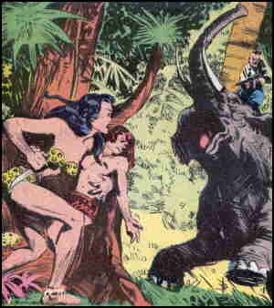 Taanda confronts more danger than just a rogue elephant. Artist: Everett Raymond Kinstler.