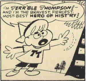 Terr'ble Thompson identifies himself. Artist: Gene Deitch.