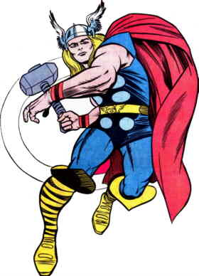 Thor, from a mid-1960s pin-up. Artist: Jack Kirby.