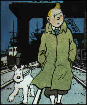 Tintin and his dog, Snowy. Artist: Herge.
