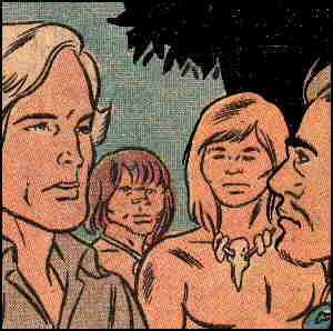 L-r: Johnbutler, Cara, Lok, Gorok, from the Charlton comic book. Artist: Fred Himes.