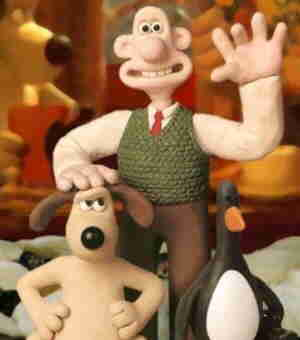 Wallace (right) and Gromit pose with 'Wrong Trousers' supporting characters.