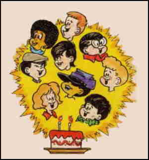 The wee pals gang celebrate an anniversary, from a paperback cover. Artist: Morrie Turner.